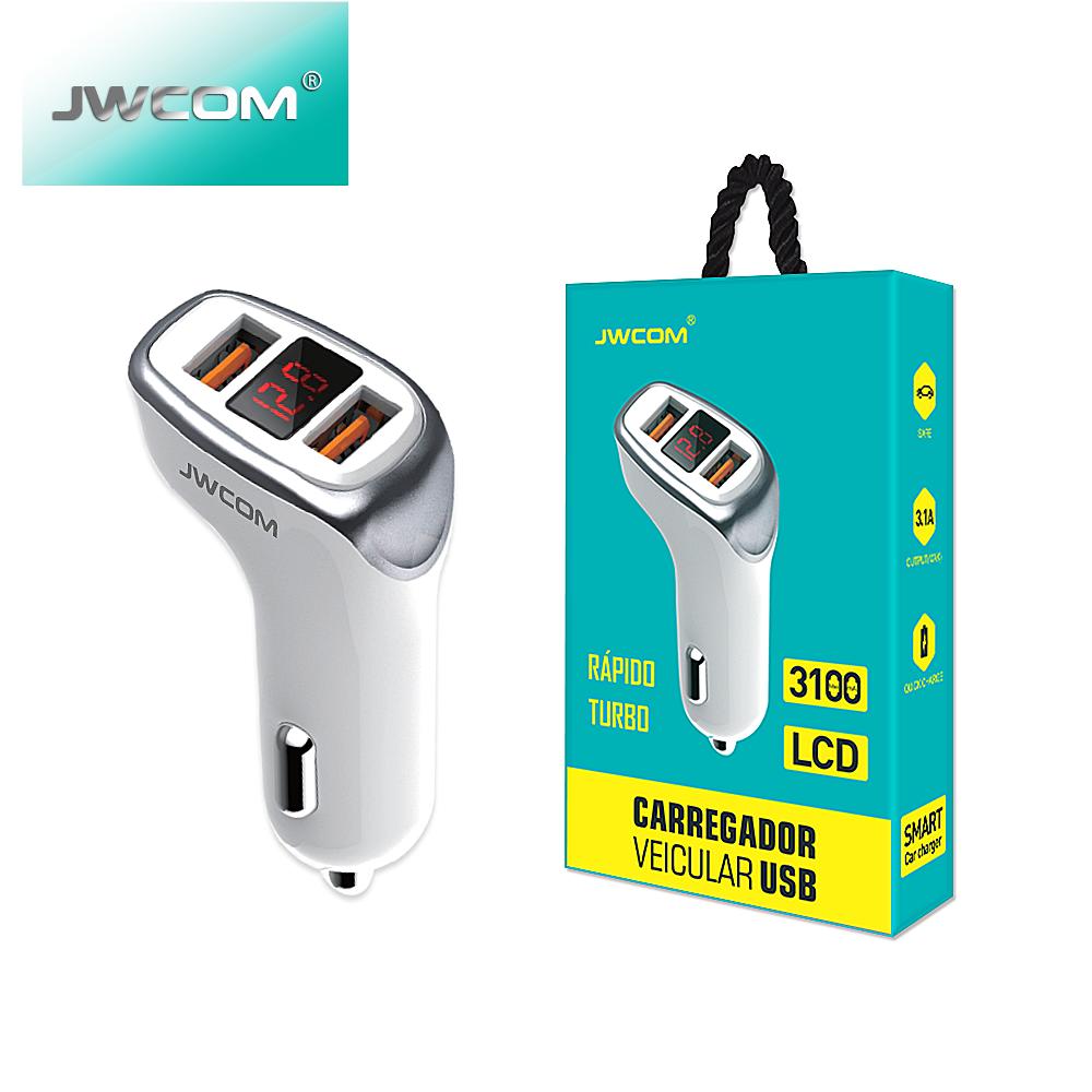 Carregador veicular duplo USB LCD CRC-C58